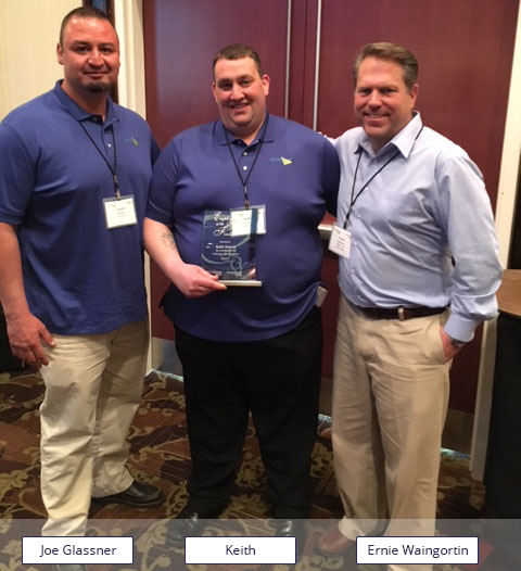 Keith DeLeva getting Employee of The Year Award